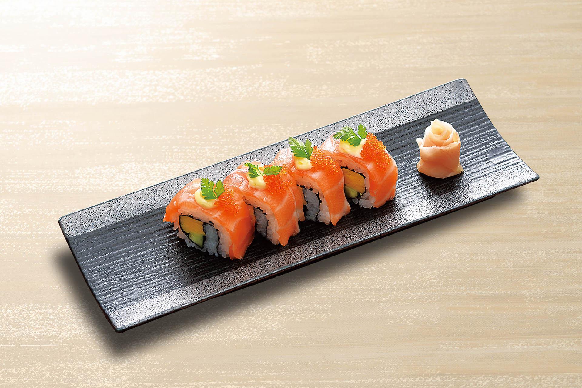 サーモンロール寿司 柚子胡椒マヨネーズ仕立て