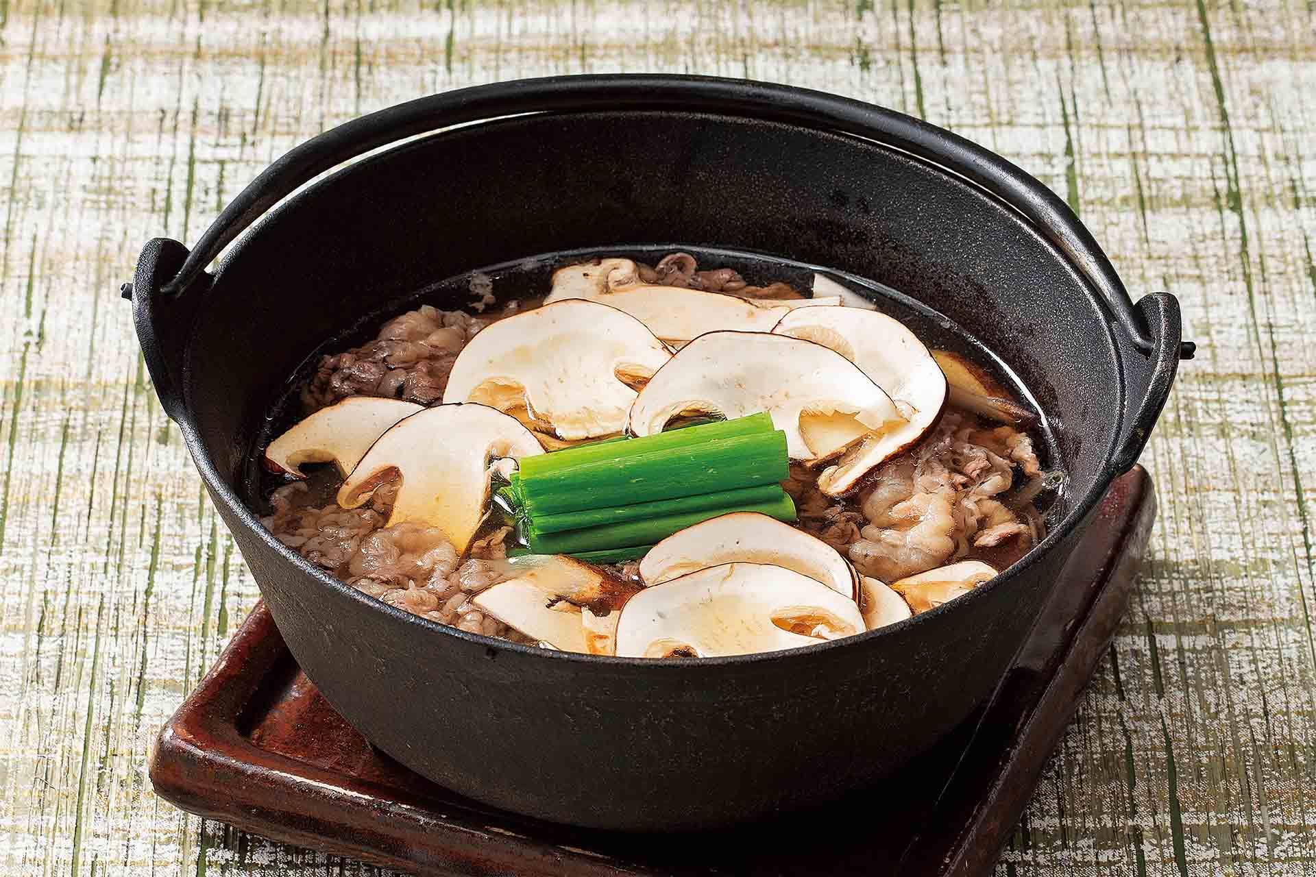 松茸と和牛牛鍋のおうどん