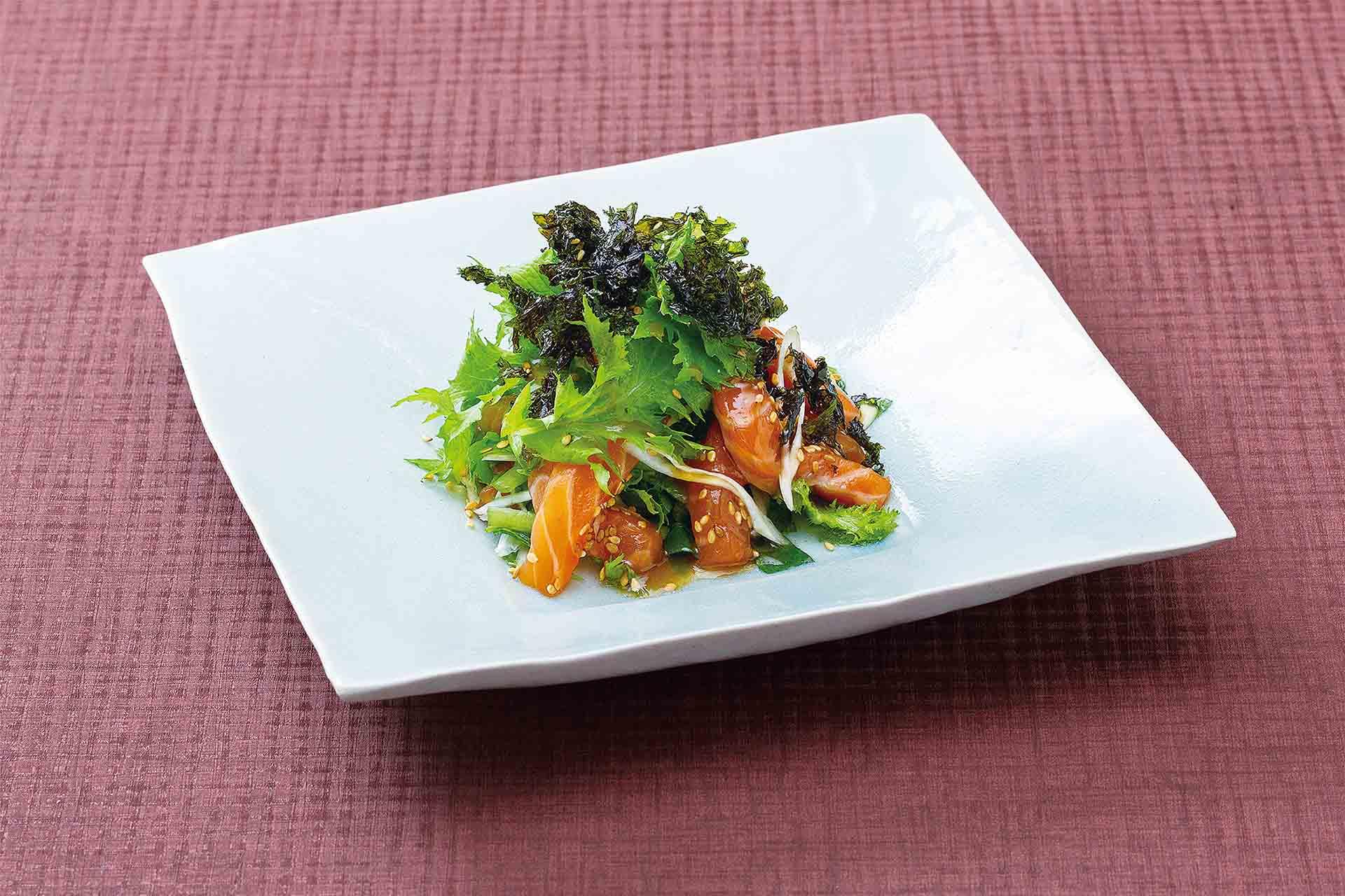 サーモンと山葵菜のチョレギサラダ