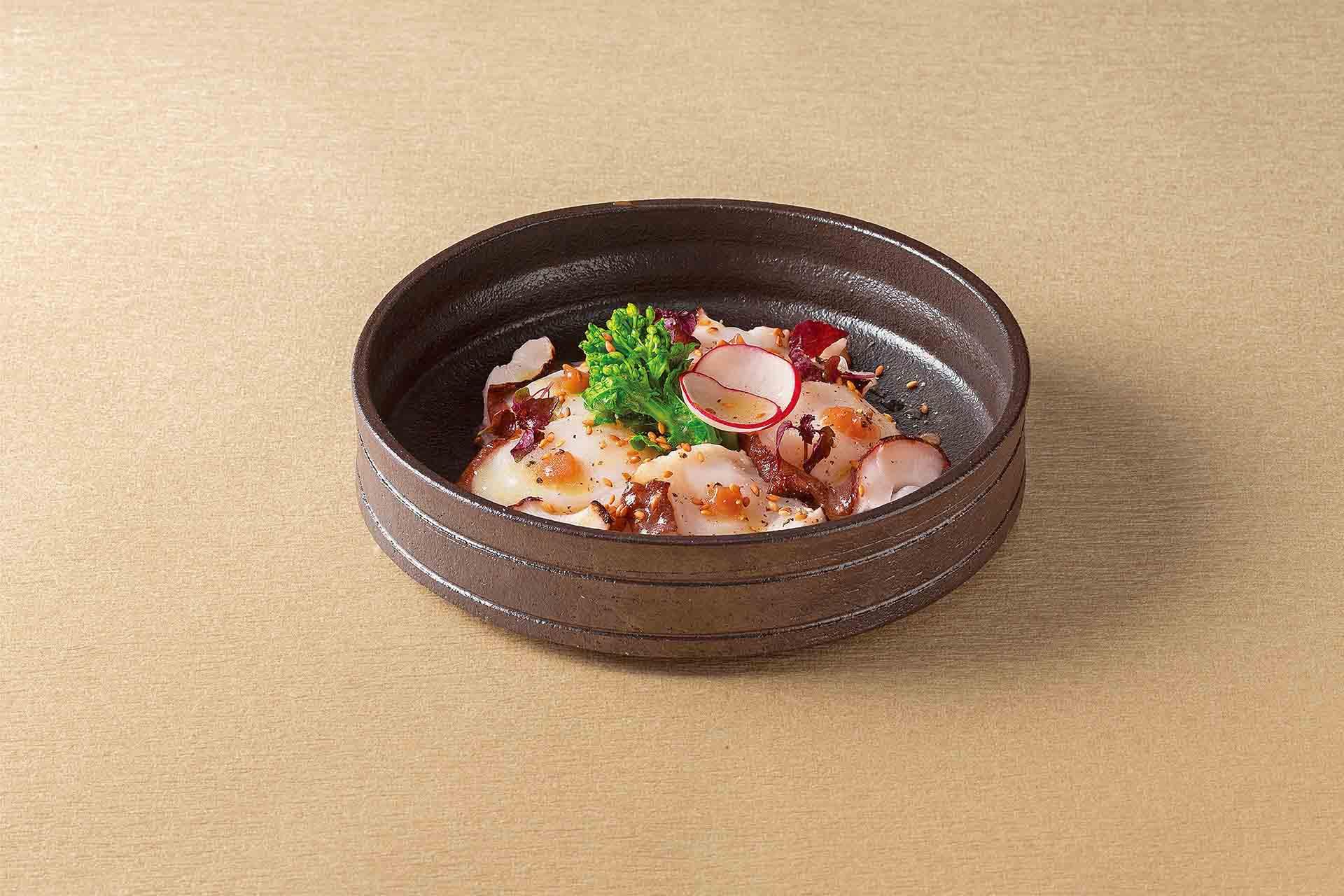 北海水蛸の炙り梅胡麻カルパッチョ